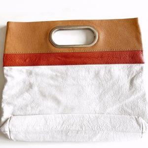 BANANA REPUBLIC tricoloured leather clutch